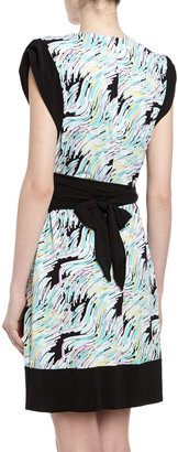 Max & Cleo Multicolor Print Faux Wrap Dress