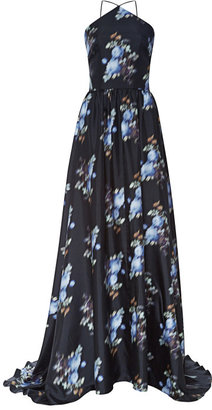 Peter Som Small Rose Silk Twill Gown