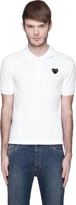 Comme des Garcons White Black Logo Applique Polo