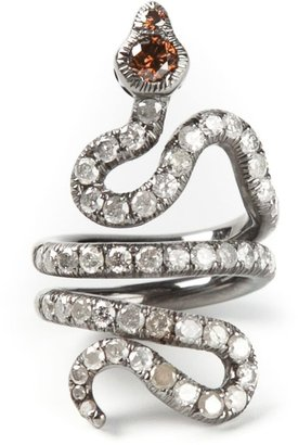 Loree Rodkin Gold And Diamond Pave Coiled Snake Pinky Ring