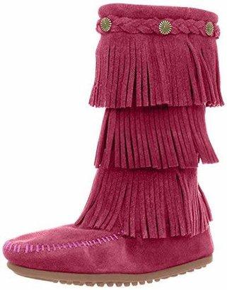 Minnetonka 3-Layer Fringe, Unisex Kids Mocassins Boots, Pink (Bright Pink), 6 Child UK (24/25 EU)