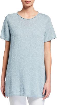 Eileen Fisher Organic Cotton-Linen Slub Tunic Sweater