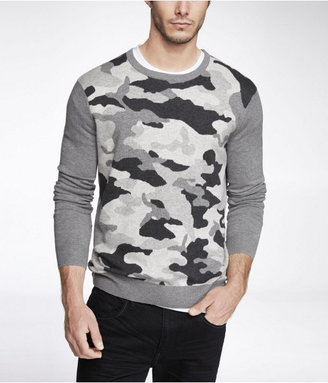 Express Camouflage Cotton Crew Neck Sweater