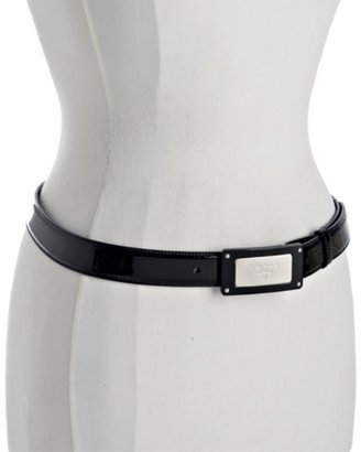 Prada black patent logo plaque buckle belt