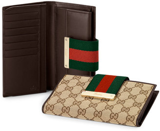 Gucci Ladies Web Metal Bar Continental Wallet, Brown