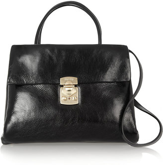 Miu Miu Cracked-leather tote