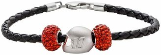 Insignia Collection NASCAR Denny Hamlin Leather Bracelet & Sterling Silver Helmet Bead Set