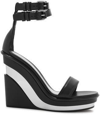 Alexander McQueen 130 Black Leather Wedge Sandals