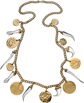 Kenneth Jay Lane Gold Coin Horn and Hamsa Necklace