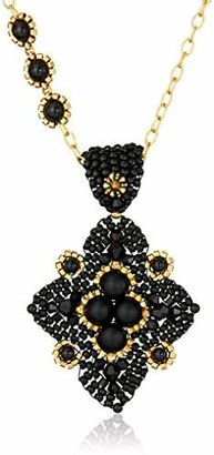 Miguel Ases Onyx Diamond Pendant Necklace