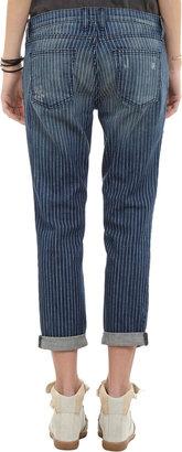 """Current/Elliott The Fling"""" Boyfriend Jeans - INDIGO PINSTRIPE"""