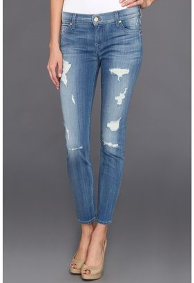 7 For All Mankind The Cropped Skinny in Destroyed Bright Indigo (Destroyed Bright Indigo) - Apparel