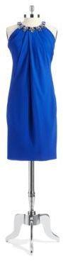 Pamella Roland PAMELLA Rhinestone Accented Shift Dress