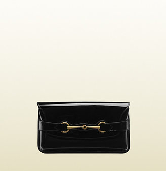 Gucci Bright Bit Patent Leather Clutch With Horsebit Detail
