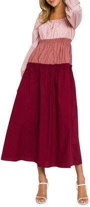 ENGLISH FACTORY Tiered Colorblock Midi Dress