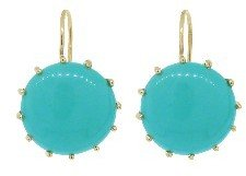 Andrea Fohrman Cabochon Turquoise Earrings - Yellow Gold