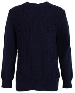 BOSS Navy Cable Cashmere Cotton Jumper