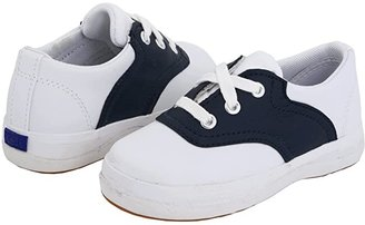 Keds Kids School Days II (Toddler/Little Kid) (White/Navy Leather) Girls Shoes