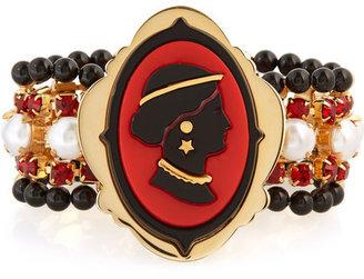 Miu Miu Crystal-embellished cameo bracelet