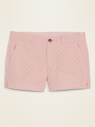Old Navy Mid-Rise Everyday Eyelet Shorts for Women -- 3.5-inch inseam