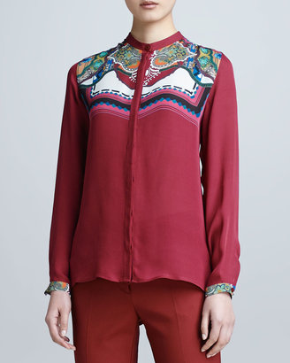 Etro Long-Sleeve Print-Yoke Shirt