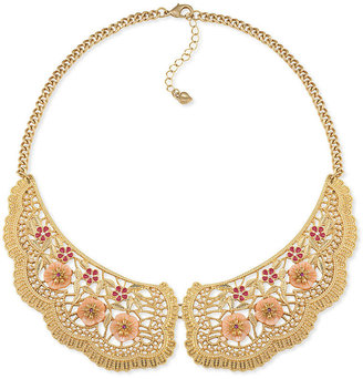 Carolee Necklace, Gold-Tone Pink Stone Bib Necklace