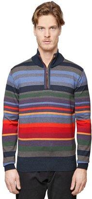 Shark Fit Striped Half Zip Wool Sweater $567 thestylecure.com