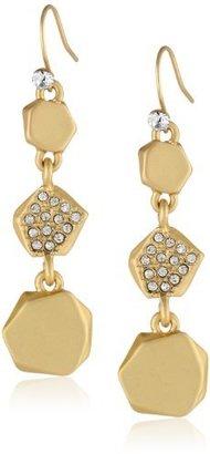 "Kenneth Cole New York ""Springtime Rose"" Pave Geometric Bead Linear Drop Earrings"