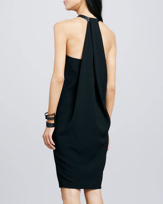 Robert Rodriguez Leather-Neck Crepe Dress