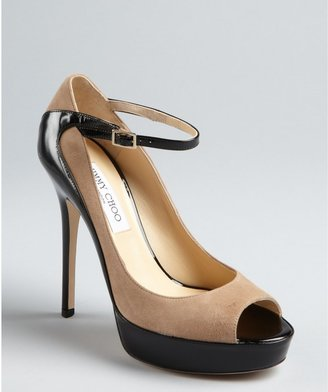 Jimmy Choo nude suede and black patent leather peep toe 'Tami' pumps