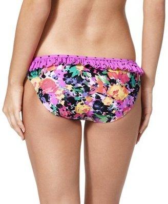 Xhilaration Juniors Hipster Swim Bottom -Multicolor Floral/Polka Dot Print