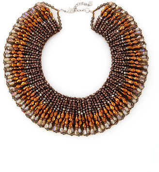 Nakamol Beaded Crystal Collar Necklace, Bronze/Gray Multi