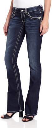 Miss Me Loose Saddle Stitch Border Boot Cut Jean 25