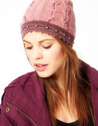 Alice Hannah Angora & Lambswool Blend Beanie With Pearls & Crochet Trim