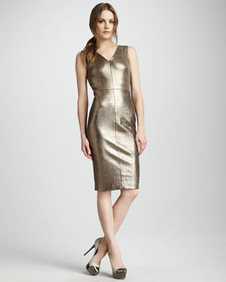 Robert Rodriguez Metallic Leather Dress