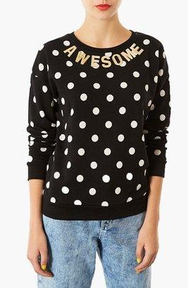 Topshop Spotted Slogan Sweatshirt