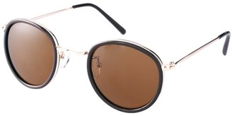 Asos Round Sunglasses In Brown And Gold