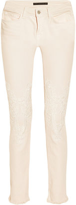 Christopher Kane J Brand lace-trimmed mid-rise cropped skinny jeans