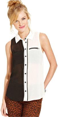 Material Girl Juniors Top, Sleeveless Colorblock Zipper Button-Down