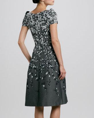 Carolina Herrera Floral Peaked-Shoulder Jacquard Dress
