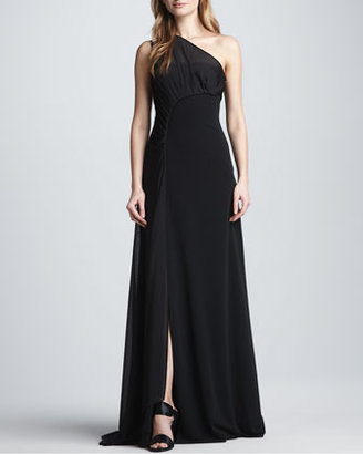 Halston One-Shoulder Gown with Sheer Overlay