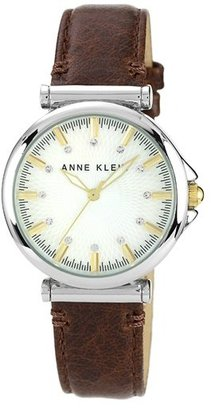 Anne Klein Crystal Index Leather Strap Watch, 36mm