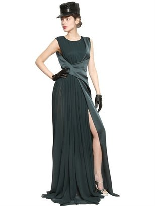 John Galliano Pleated Chiffon & Shiny Crepe Long Dress