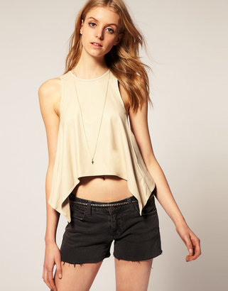 Asos PREMIUM Leather Cutabout Top