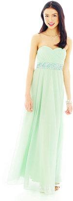 My Michelle Strapless Crisscross-Bust Long Dress