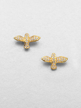 Elizabeth and James White Sapphire Bird Stud Earrings