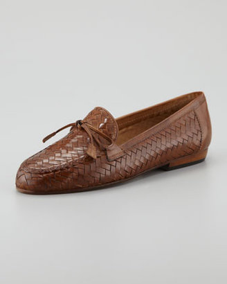 Sesto Meucci Nancy Woven Leather Tassel Flat Loafer, Brown