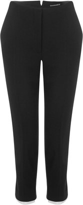 Alexander McQueen Black Crepe Wool Cuffed Cropped Trousers