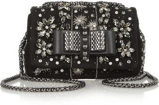 Christian Louboutin Sweet Charity Mini embellished suede shoulder bag