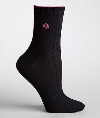 Ralph Lauren Women's Tipped Mini Cable Crew Socks Panty Hose
